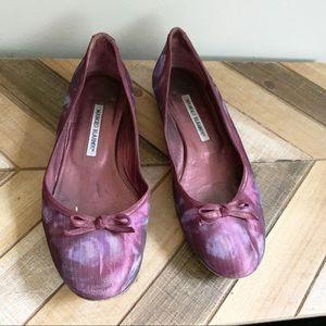 Manolo Purple Silk Floral Flats
